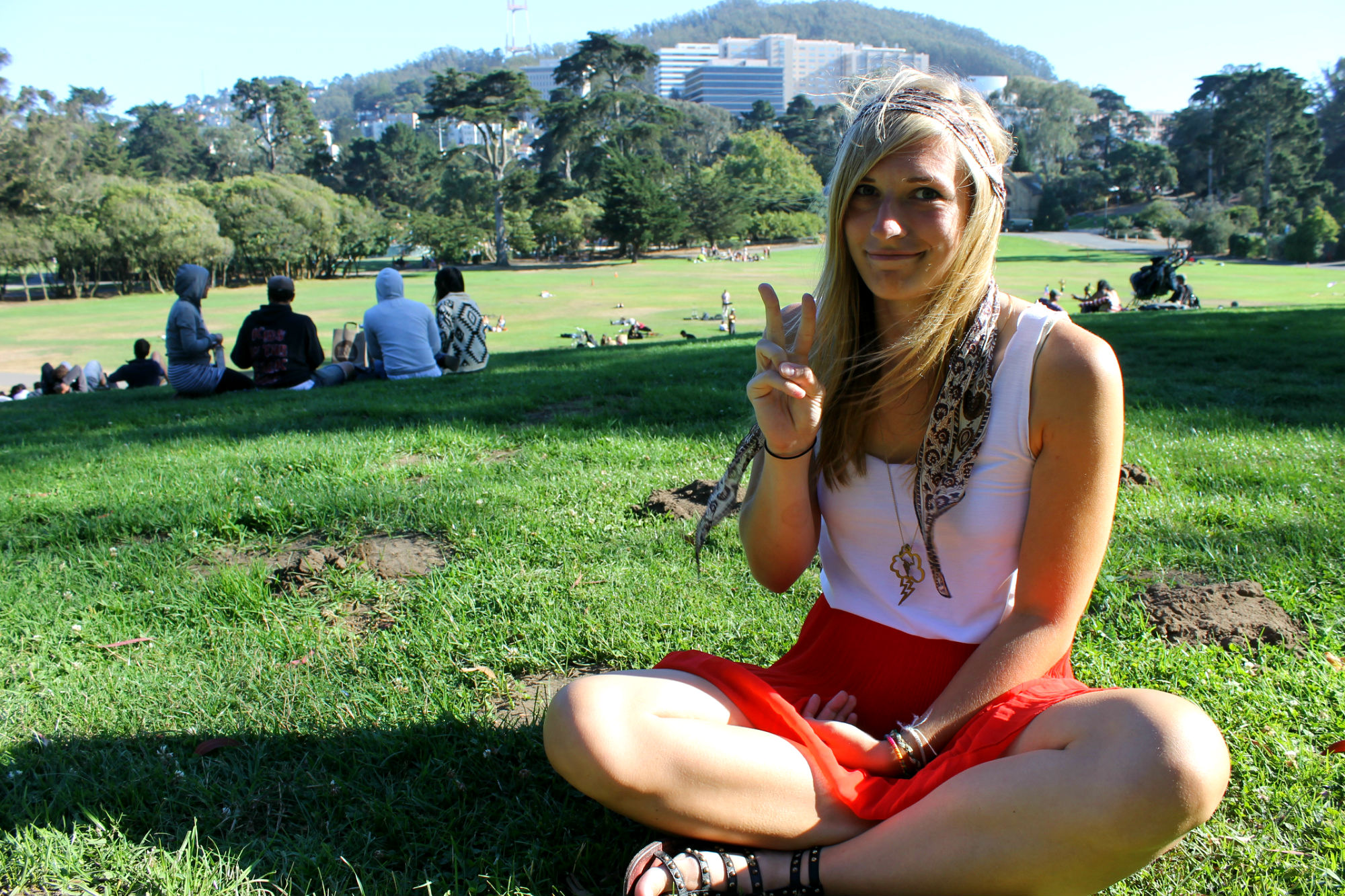 Frankly quite ashamed I'm even doing this pose on San Francisco's Hippie Hill...