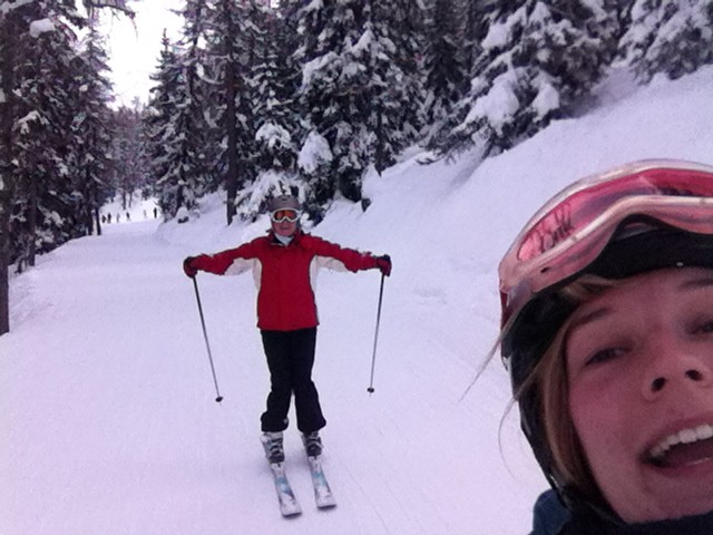 My mum obeying ski etiquette and posing for a picture!