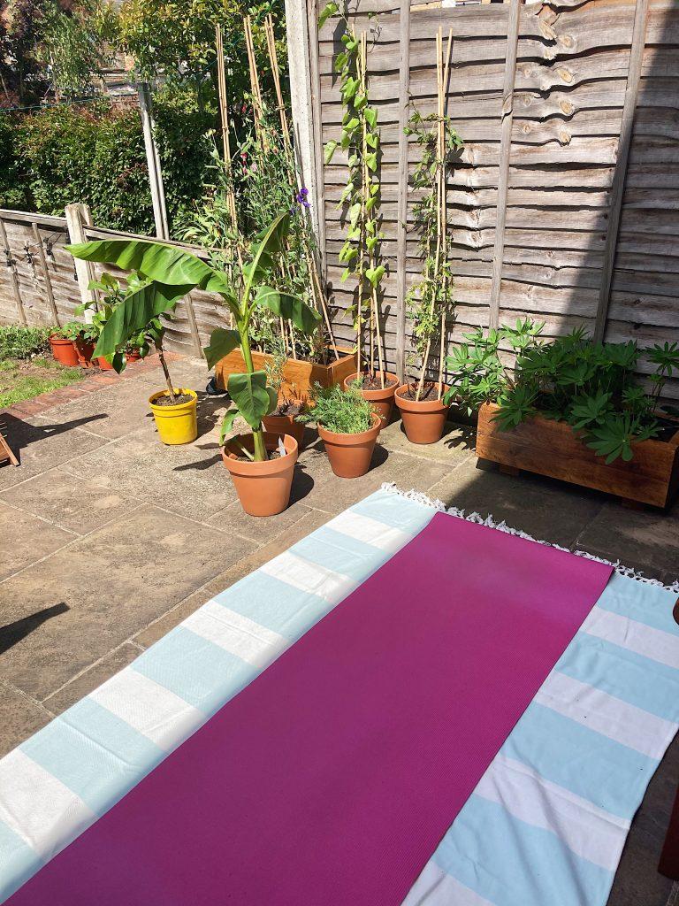 Yoga mat outside on patio