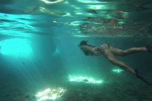 Snorkelling Thunderball Grotto of James Bond fame in The Bahamas